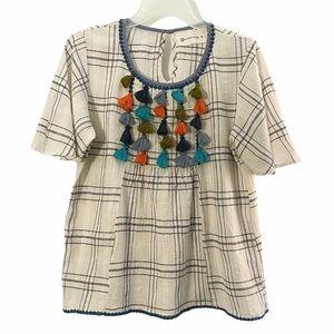 Boho gauze cotton colorful tassel blouse, cream